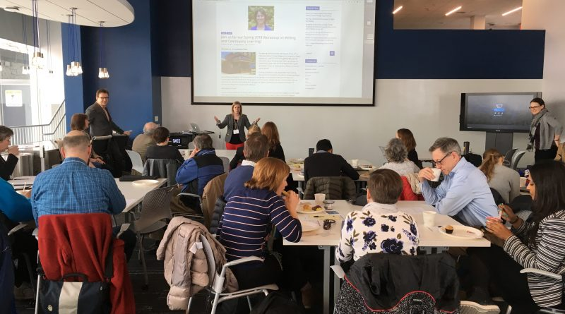 Participants of the 2018 Writing and Community Engagement Conference discuss approaches to writing assignments with Dr. Megan Faver Hartline.