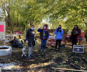 Cleaning up a community garden in Hartford.